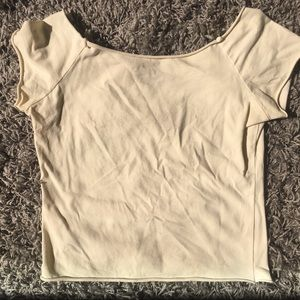 Light yellow off the shoulder tee
